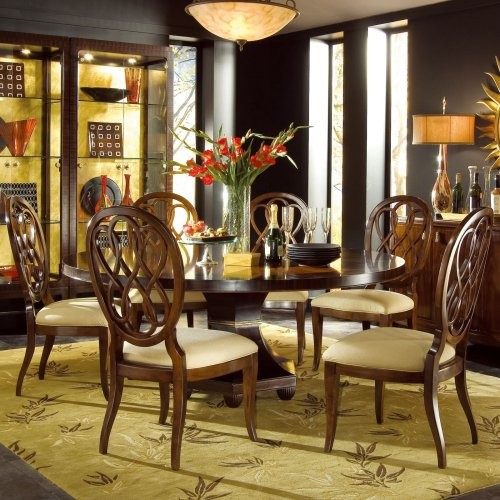 American Drew Bob Mackie Signature 72 in. Round Ribbon Dining Table traditional-dining-tables