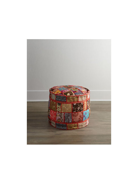 Horchow - Bright Patchwork Pouf - An eclectic mix of various fabrics and patterns, this intriguing pouf adds drama and color to the room. Alone or in multiples, it is perfect at the end of a bed, in front of a chair, or beside a sofa. The possibilities are endless. Handcrafted of richl...