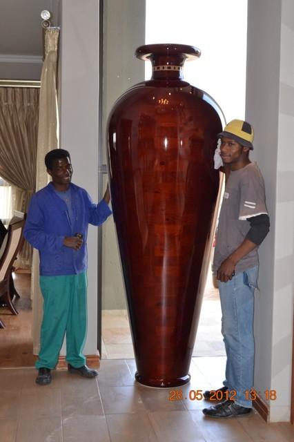 2.5m Bespoke Handmade Segmented Wooden Vessel mediterranean-indoor-pots-and-planters