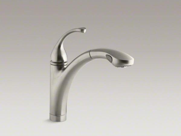 "KOHLER Fort�(R) single-hole or 3-hole kitchen sink faucet with 10-1/8"" pullout s contemporary-kitchen-sinks"