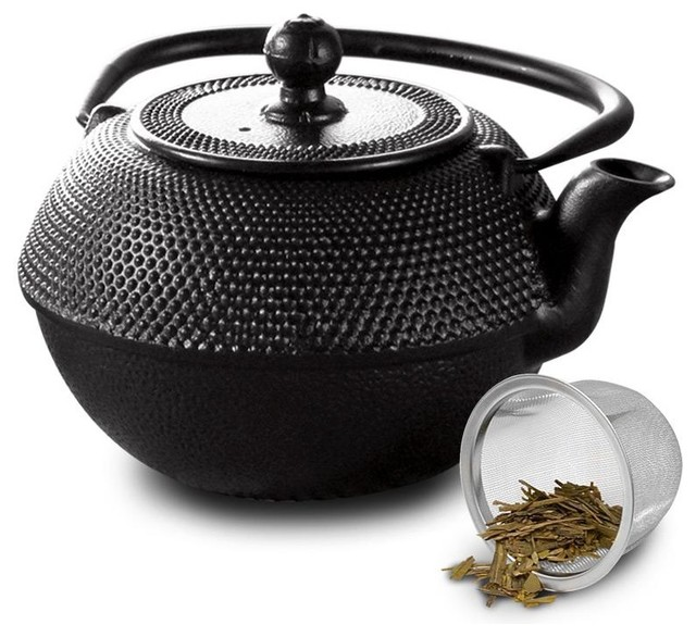 Black Hammered 40 Oz Cast Iron Teapot With Stainless Steel Infuser And Loose Gre Contemporary