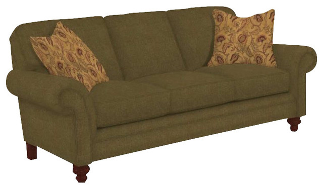 Broyhill Larissa Green Olive Queen Goodnight Sleeper Sofa with Cherry Wood Finis - Transitional ...