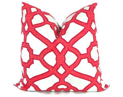 Raspberry and White Trellis Decorative Pillow Cover by Pop O' Color contemporary-decorative-pillows