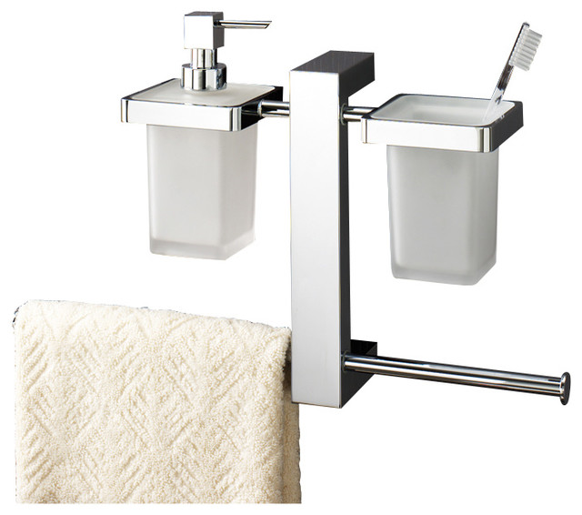 Wall Mounted Rack With Toothbrush Holder, Soap Dispenser, and Sliding Towel Rail - Contemporary ...