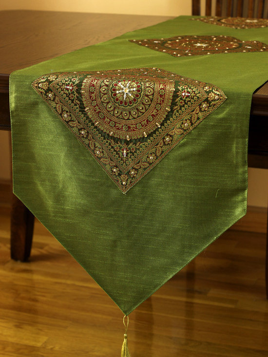 """Elegant Table Runners - Gorgeous """"Oriental Harmony"""" table runner. Citrus Green color. Decorative Indian hand crafted design."""