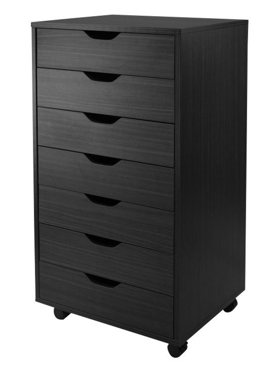 Winsome - Winsome Halifax Cabinet for Closet/Office with 7 Drawers Black Finish - Winsome - Storage Units - 20792 - Halifax storage carts feature a multitude of drawers for easily accessible storage in your home office kitchen craft room or a child's room.  Optional locking casters to use them with or wihtout casters for stationary or mobility storage.  Create a workspace by placing tabletop over 2 of 7-Drawer carts for high table or 5-Drawer creates a normal table height.