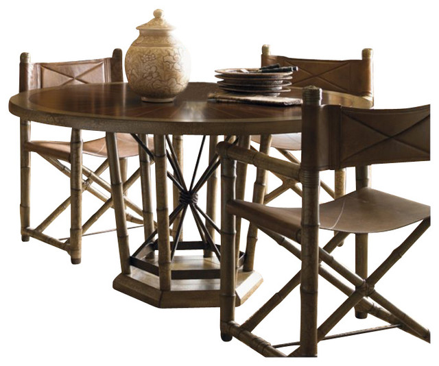 Henry Link Safari Dining Table in Rosewood and Linen Crackle tropical-dining-tables