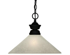 One Light Sand Black White Linen Glass Down Pendant traditional-pendant-lighting