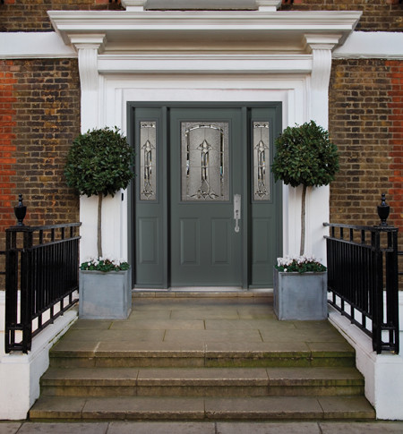 Single Steel Door with a Doorlite & 2 Sidelite / Decorative Inserts front-doors