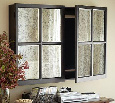 Mirror Wall-Mount Flatscreen TV Cabinet Media Storage, Black, Large - Traditional - Media ...