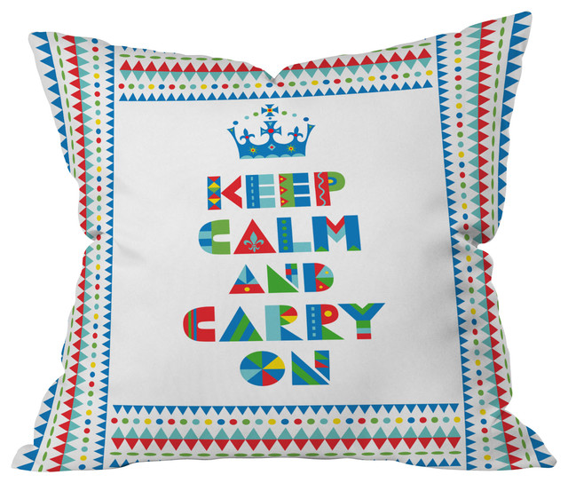 Andi Bird Keep Calm And Carry On Throw Pillow, 26x26x7 contemporary-decorative-pillows