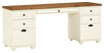 Whitney Rectangular Desk Set, 1 Desktop& 2 3-Drawer File Cabinet, Almond White w - Traditional ...