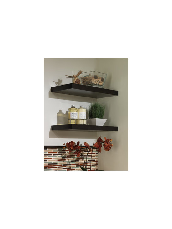 Floating Shelves - Create open storage for easy access to everyday items or to display decorative pieces with floating shelves in the same finish as cabinetry.