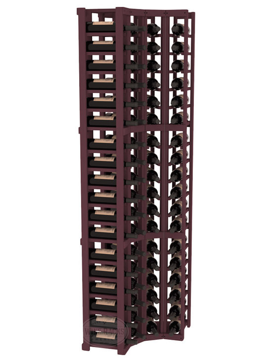 Wine Racks America® - 4 Column Wine Cellar Corner Kit in Pine, Burgundy Stain - Get the most storage in your wine cellar with unique corner wine racks. We construct every rack to our industry-leading standards and back them up with our lifetime warranty. Designed with emphasis on functionality, these corner racks fit seamlessly into our modular line of wine racks.