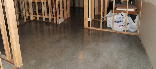 Hip and Modern Basement Concrete Floors - created by MODE CONCRETE in Kelowna BC modern basement