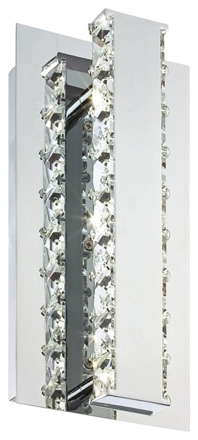 """Cronos 11"""" High Chrome and Crystal LED Wall Sconce contemporary-wall-lighting"""