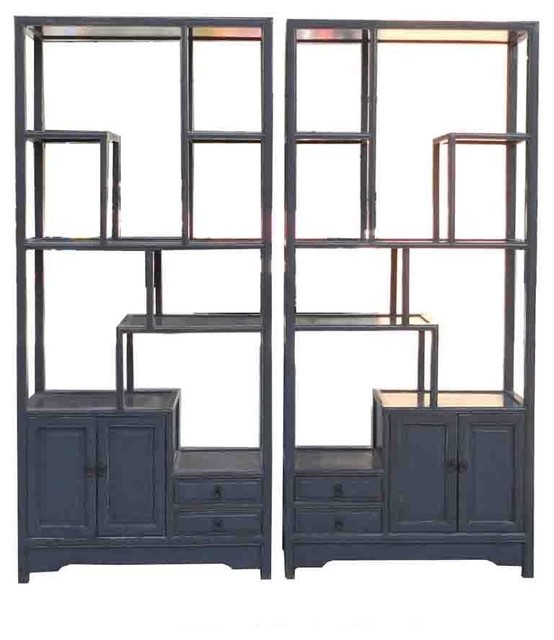 Pair Gray Blue Chinese Treasure Curio Display Cabinets - Rustic - Bookcases - by Golden Lotus ...