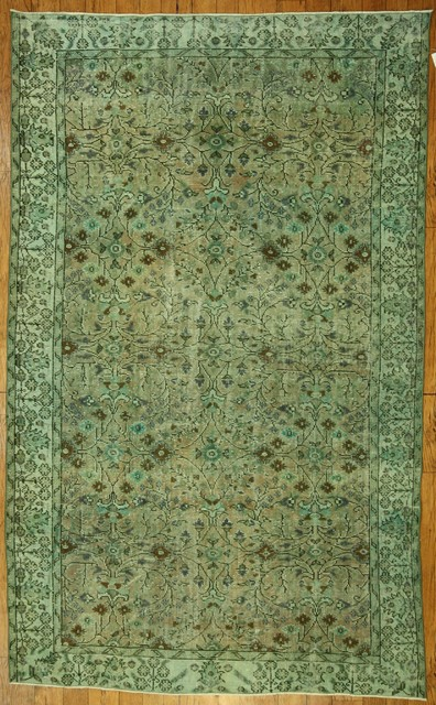 Mint Green Overdyed Rug Contemporary Rugs Other Metro By Bazaar Bayar