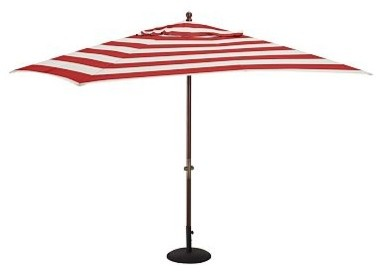Rectangular Umbrella Canopy Replacement Pb Classic Stripe Cherry Red Traditional Outdoor