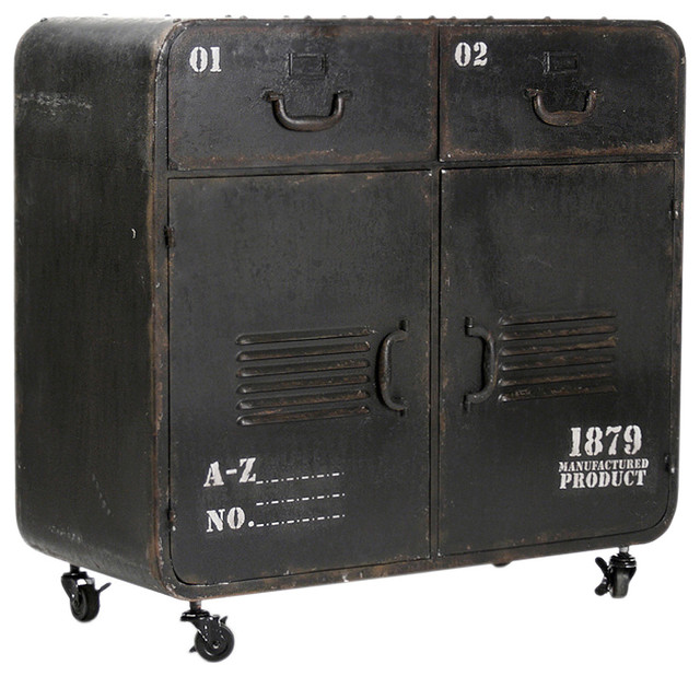 Industrial Loft Military Style Old Iron Rolling Cabinet ...