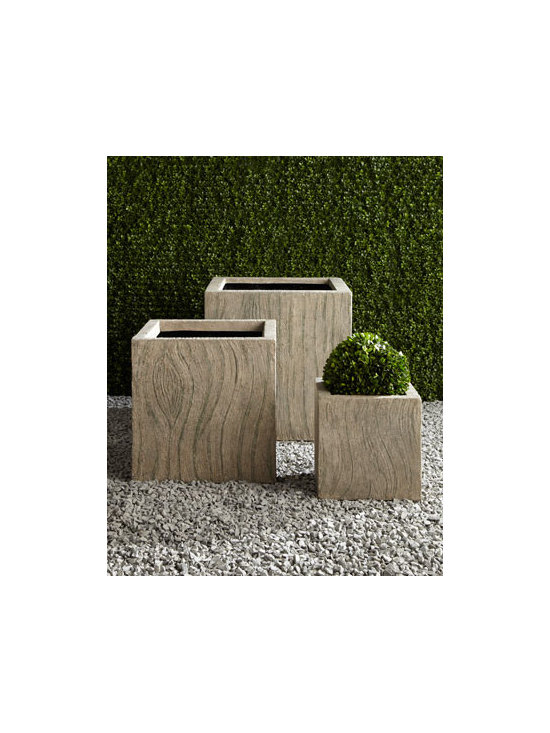 "Horchow - ""Tree Bark"" Planters - Finished to look like tree bark, these planters offer a unique setting for favorite florals and greenery. Their graduated sizes make them ideal as a group but equally as charming used individually. Made of crushed stone/polyester resin/styrene/fiberglass. Hand-painted aged-granite finish. Outdoor"