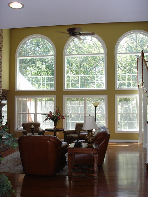 Two story arched windows window treatments st louis for 2 story window treatments