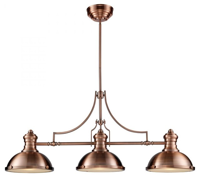 Three Light Antique Copper Pool Table Light