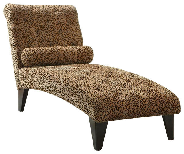 Coaster Leopard Print Living Room Armless Chaise in Black Eclectic Indoor