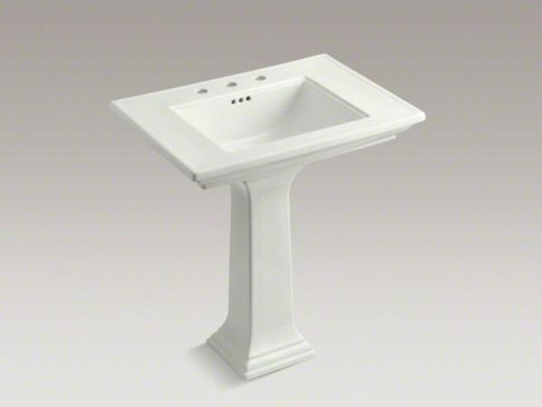 "KOHLER Memoirs(R) Stately 30"" pedestal bathroom sink with 8"" widespread faucet h contemporary-bathroom-sinks"