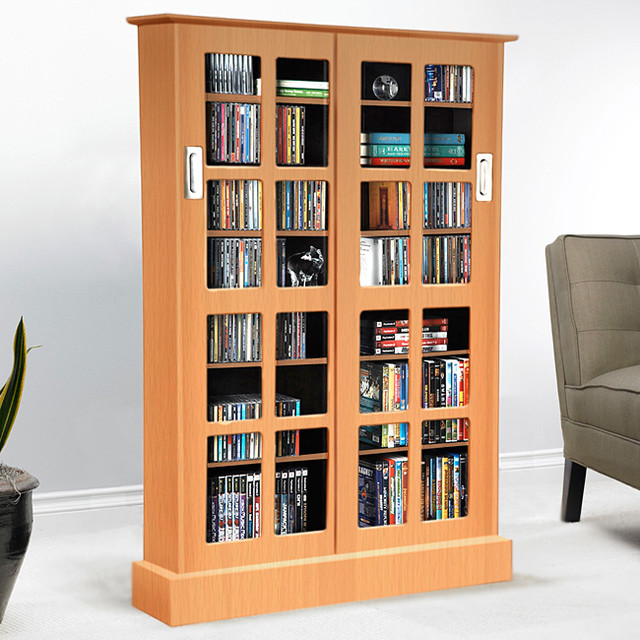 Windowpane Media Cabinet with Sliding Glass Doors - Contemporary - Media Cabinets - by Overstock.com