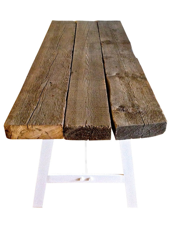 """Sean Alan Designs - Farm Table - This chunky wood farm table top is made from  reclaimed timber from Pennsylvania.  Sun bleached to achieve the petina grey that you see.  Rested on top of a 1/2 inch solid steel """"A"""" trestle frame.  Each section has been inlayed into the bottom of the table top with matching 1/4 steel plates for pure stability, making it easy to assemble and disassemble for a life long furniture piece."""