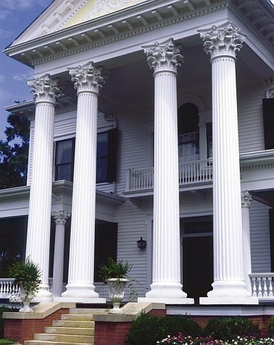 Fluted round tapered columns traditional outdoor for Round porch columns