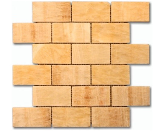 Honey Onyx 2x4 Brick pattern stone mosaic - honey onyx 2x4 stone brick pattern mosaic polished