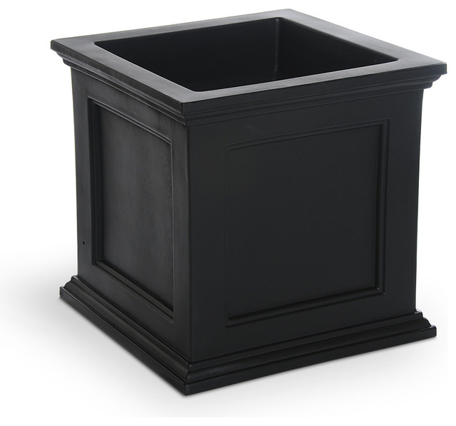 Mayne Black Plastic Outdoor Planter - Traditional - Outdoor Pots And Planters - by Lowe's