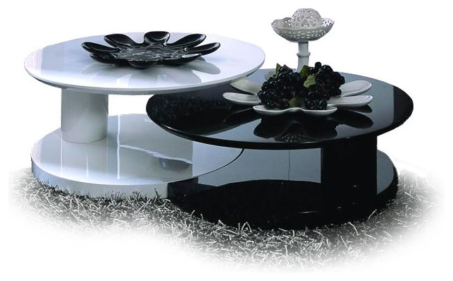 Modern glossy black and white nesting coffee table osaki contemporary coffee tables san Black and white coffee table