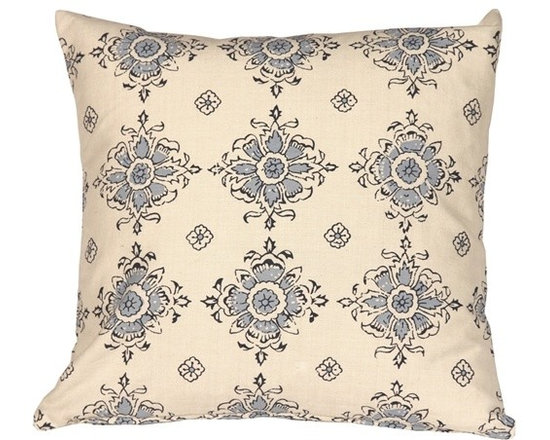 Pillow Decor - Pillow Decor - Medallion Handprint Lake 16X16 Throw Pillow - This exquisite 100% cotton throw pillow has an intricate block print re-scaled and re-imagined and is infused with contemporary color. The block prints are in rich navy and soft blue set against a cream background. The print runs throughout the entire pillow and the pillow is finished beautifully with a color matched zipper. This handcrafted throw pillow shows off a traditional textile technique of India and it is really something to admire. This pillow is contemporary yet traditional and can easily be mixed and matched with pillows in similar tones. Feminine and gorgeous, this pillow adds simple elegant charm to any room.