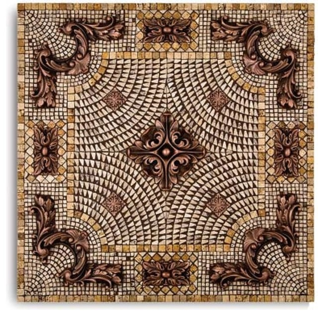 landmark metalcoat royal mosaic backsplash medallion 24 inches copper