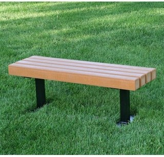 Jayhawk Plastics Trailside Recycled Plastic Commercial Backless Bench - Modern - Upholstered ...