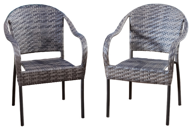 Rancho Outdoor Wicker Stackable Chairs Brown And Gray Set Of 2 Contempora