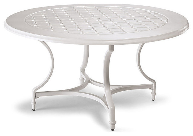 Grayson Round Outdoor Dining Table in White Finish Patio  : traditional outdoor dining tables from www.houzz.com size 640 x 450 jpeg 38kB