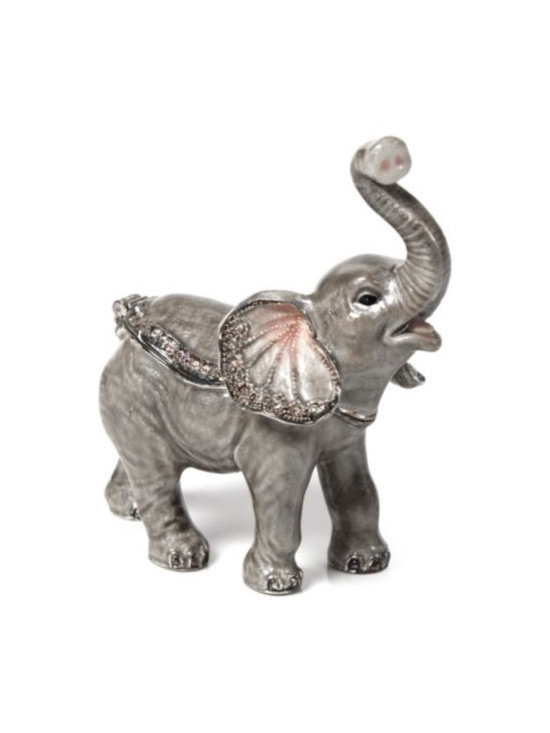 """Z Gallerie - Baby Elephant Trinket Box - Our Baby Elephant jewel boxis full of exquisite detail. Sparkling jewels and bright colorscoat the surface of our miniature jewelery boxes. The top of jewel box lifts open and holds shut with magnetic closures.Dimensions:2.5""""W x 1.5""""D x 3""""H"""