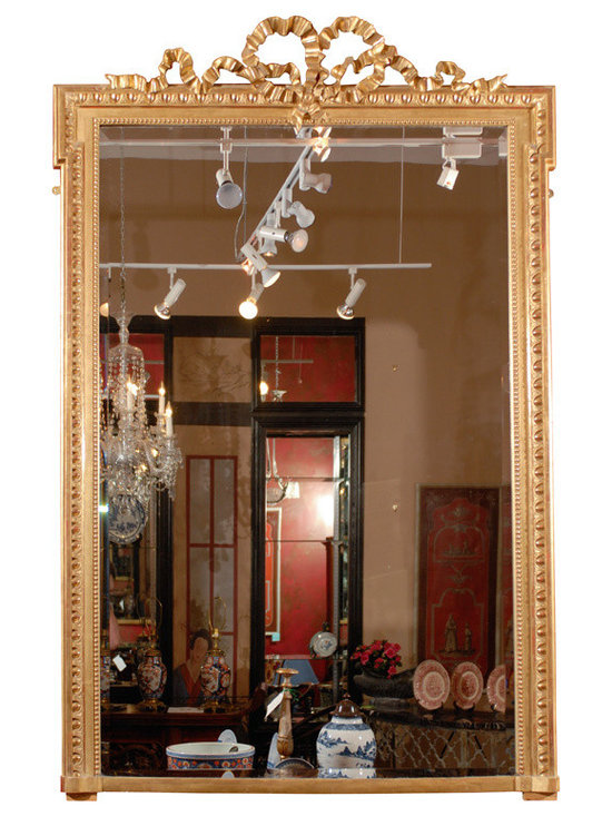 Current Inventory for Purchase - Tall 19th Century French Water Gilt Mirror w/ a Bow at the Crown
