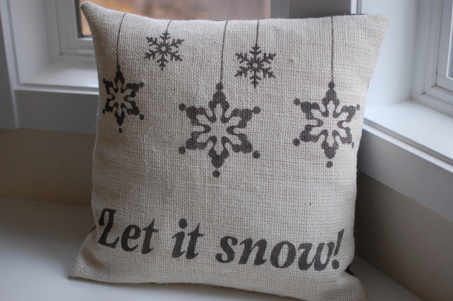 Burlap Christmas/Winter Pillow Cover by LaRae Boutique modern-holiday-decorations