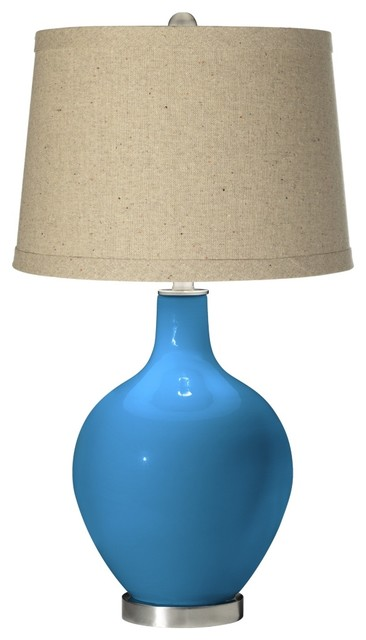 Contemporary River Blue Oatmeal Linen Shade Ovo Table Lamp contemporary-table-lamps