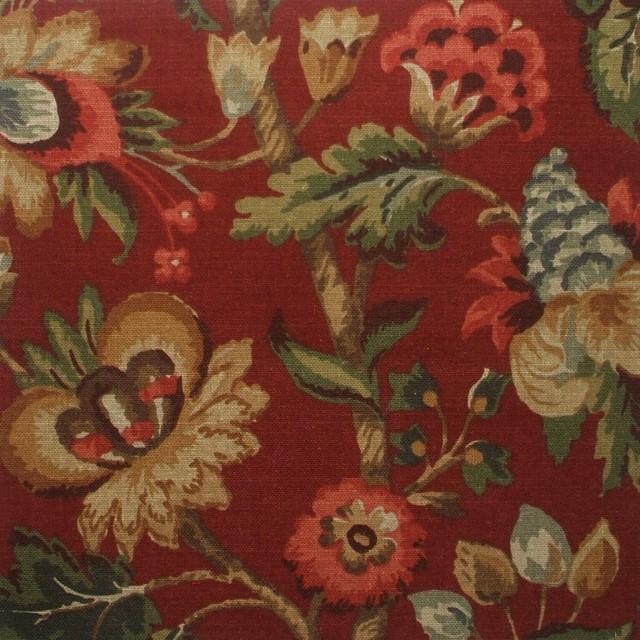 """15"""" Full Bedskirt Gathered Elizabeth Floral Cardinal Red traditional-bedskirts"""