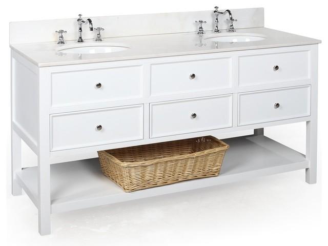 New Yorker 60 in Double Sink Bath Vanity White White