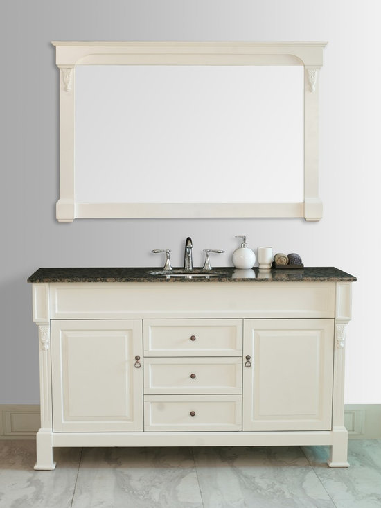 "60"" Galaxy Single Sink Vanity In Cream Finish With Baltic Brown Granite Top And - http://www.furnishedup.com/"