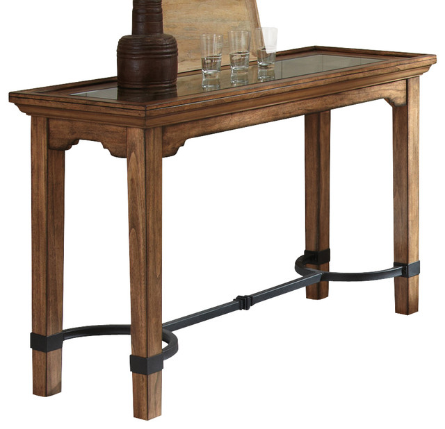 Steve Silver Levante Sofa Table with Glass Insert in Hand Rubbed Tobacco traditional-console-tables