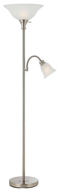 Contemporary Gemini Brushed Steel and Frosted Shade Torchiere contemporary-lamp-shades