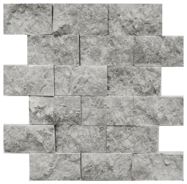 Stonetileus 4 pieces (4 Sq.ft) of Mosaic Tile Silver Marble 2x4 Split Face contemporary-wall-and-floor-tile